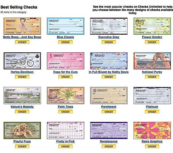 Checks Unlimited does have a solid reputation, but their prices are usually higher than other sites for the same check designs. Continued from above These personal check companies meet the same criteria as your own bank follows, to ensure that your transactions are accepted and that your checks .